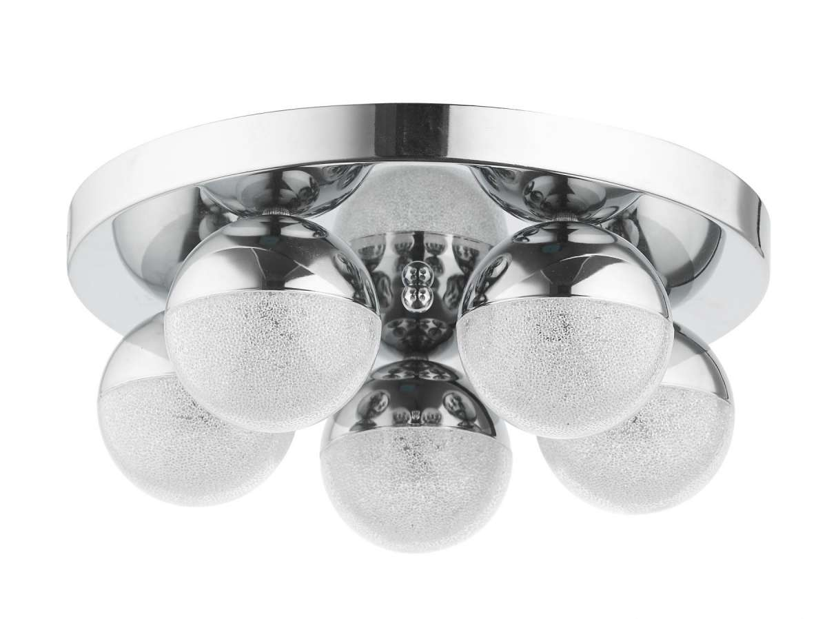 Dew 5 Light Bathroom Ceiling Light Polished Chrome IP44
