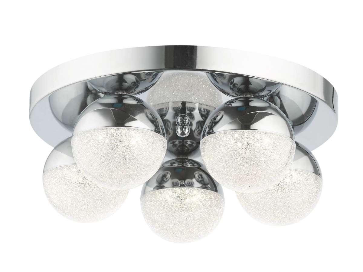 Dew 5 Light Bathroom Ceiling Light Polished Chrome IP44
