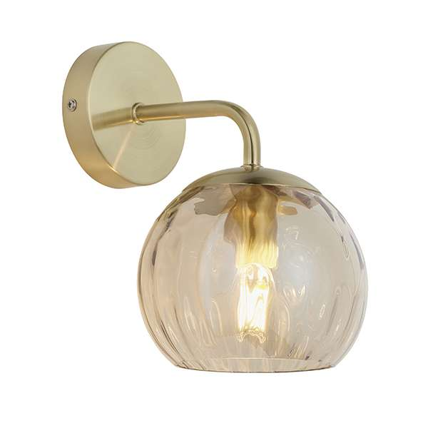 Dimple Wall Light in Brushed Brass with Champagne Glass