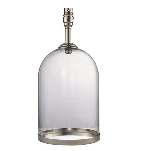 Dinton Clear Glass Table Lamp with Polished Nickel Details