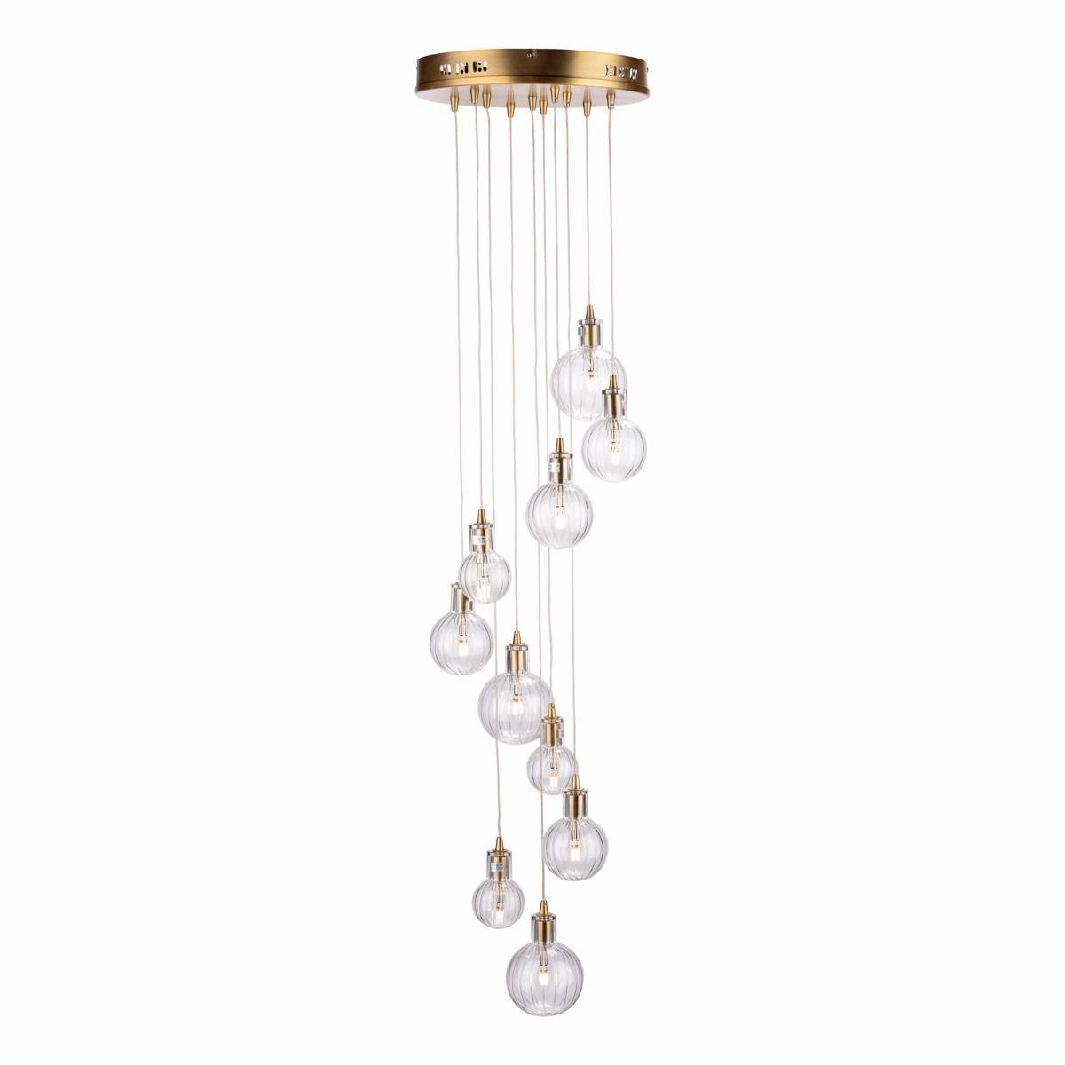 Dita 10 Light Cluster Pendant Brass & Glass