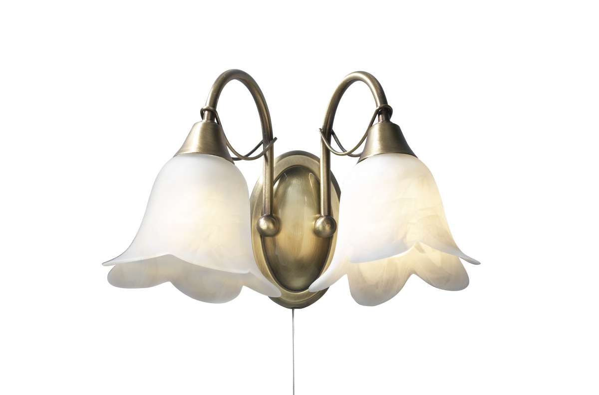 Doublet 2-Light Antique Brass Wall Bracket