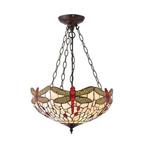 Dragonfly Beige Medium Inverted 3 Light Pendant 60W