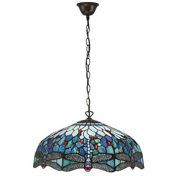 Dragonfly Blue Large 3 Light Pendant 60W