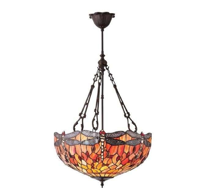 Dragonfly Flame Large Inverted 3 Light Pendant 60W