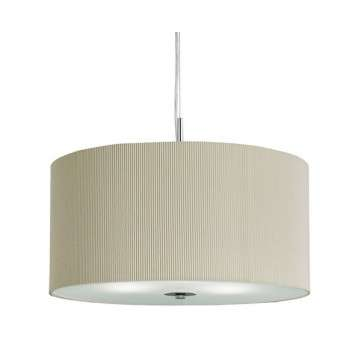 Drum Pleat Pendant 3 Light Pleated Shade Pendant Cream With Frosted Glass Diffuser Dia 60Cm