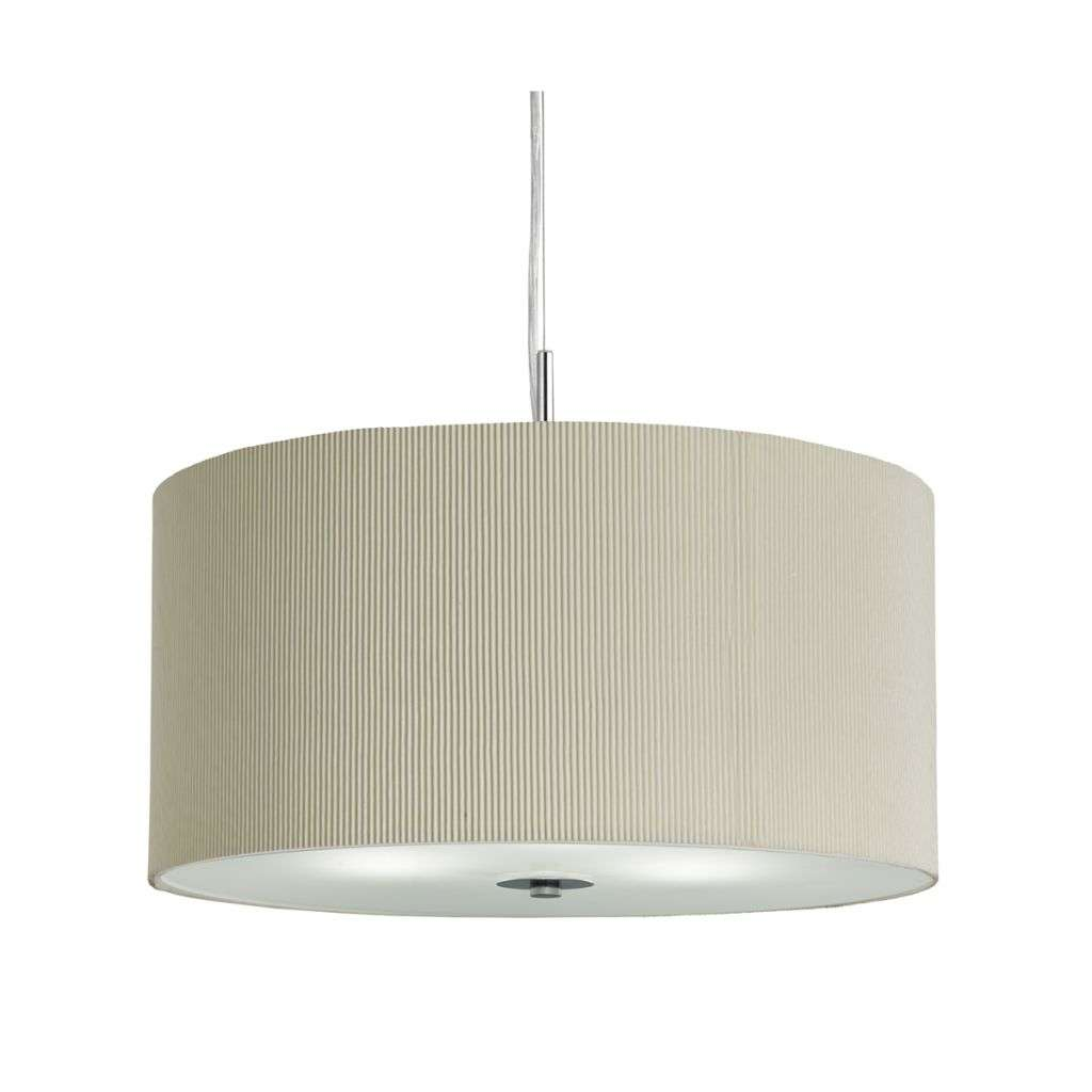 Drum Pleat Pendant  3 Light Pleated Shade Pendant Cream With Frosted Glass Diffuser Dia 40Cm