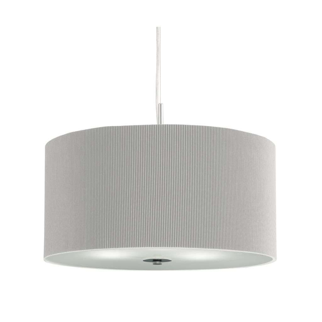 Drum Pleat Pendant 3 Light Pleated Shade Pendant Silver With Frosted Glass Diffuser Dia 40Cm