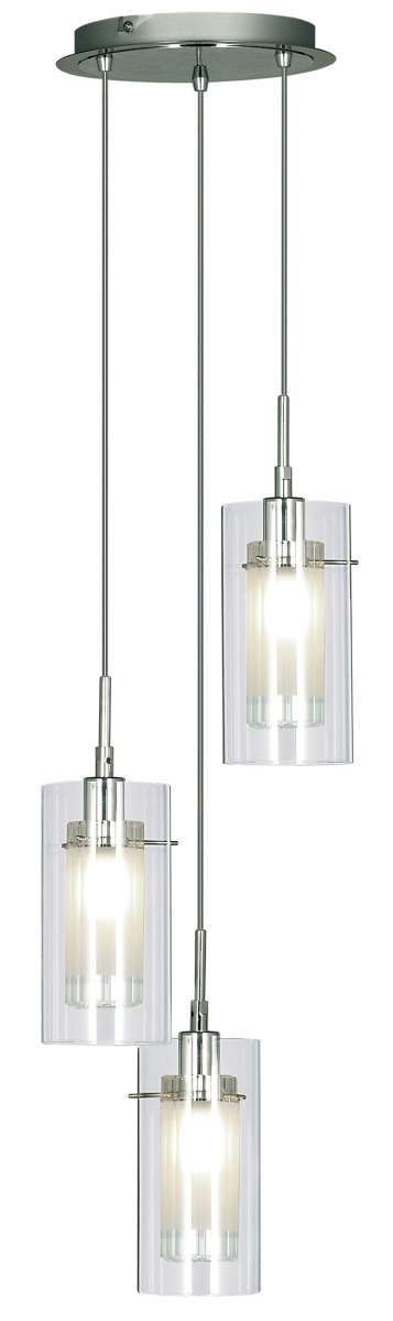 Duo1 3-Light Chrome Pendant Fitting