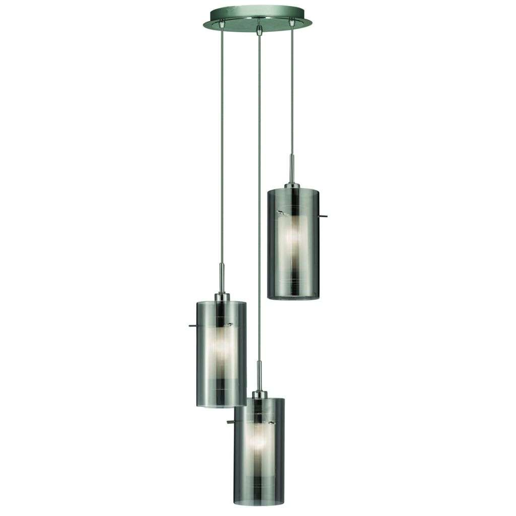 Duo 2, 3 Light Ceiling Multi-Drop With Smokey Outer/Frosted Inner Glass Shades