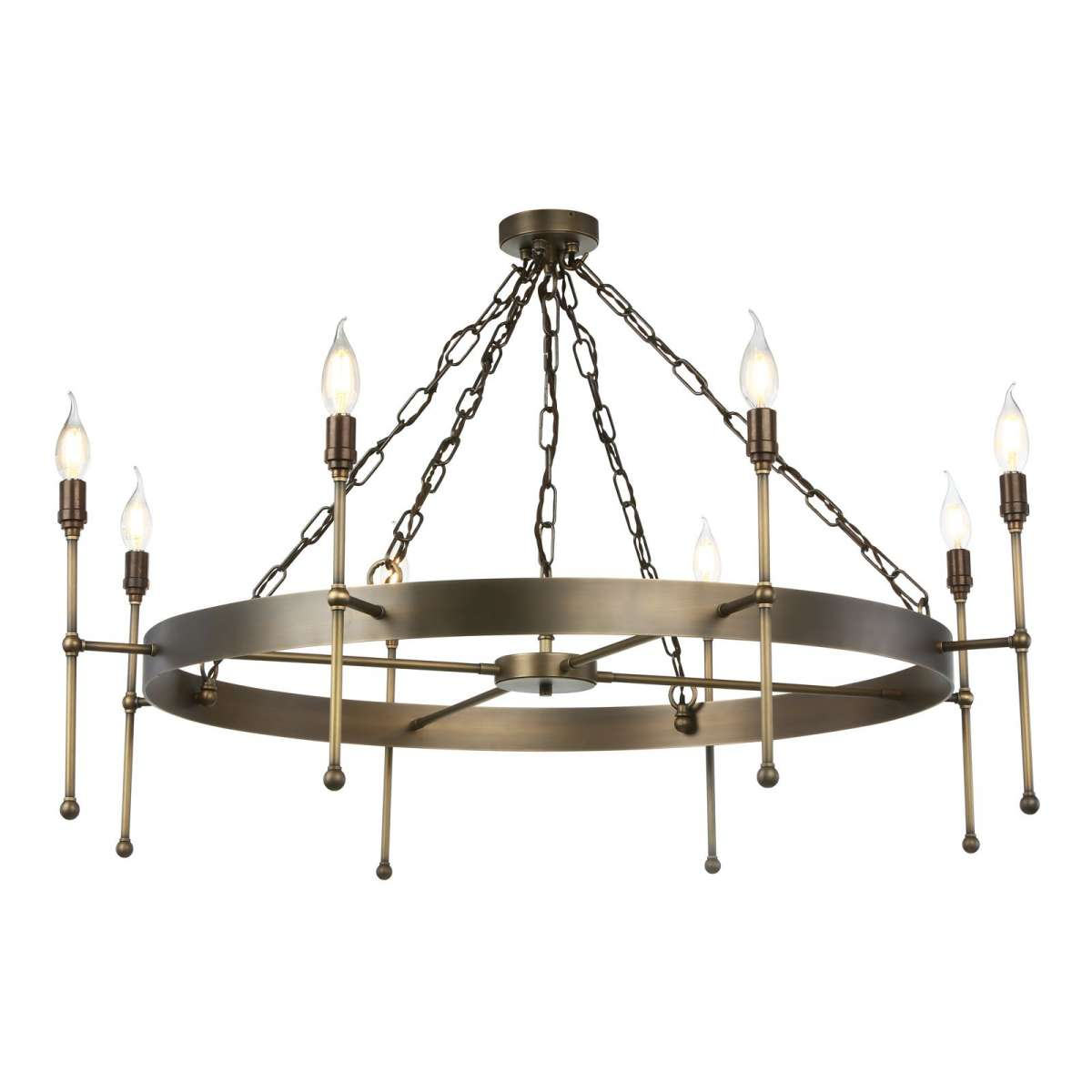 Durrell 8 Light Solid Antique Brass Pendant