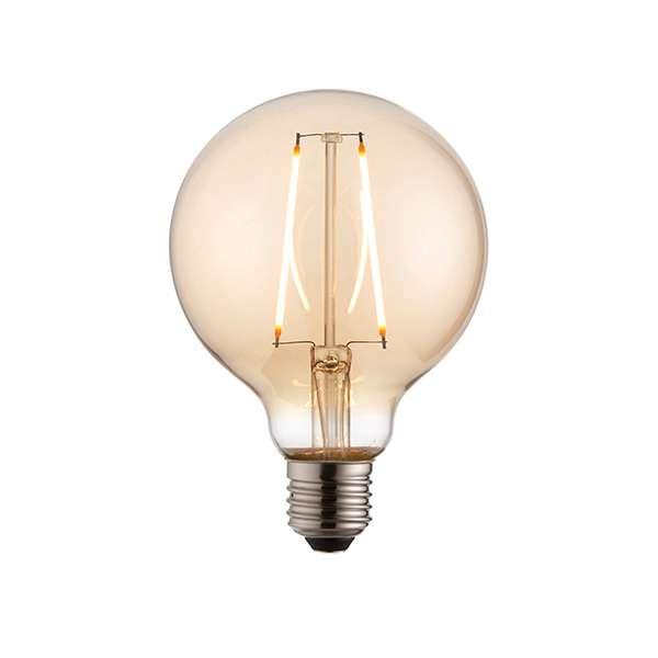 E27 LED Globe 95mm Amber Glass 2W Warm White