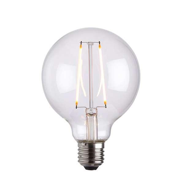 E27 LED Globe 95mm Clear Glass 2W Warm White