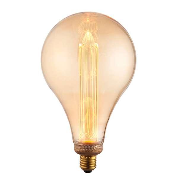E27 LED XL Globe 148mm Amber Glass