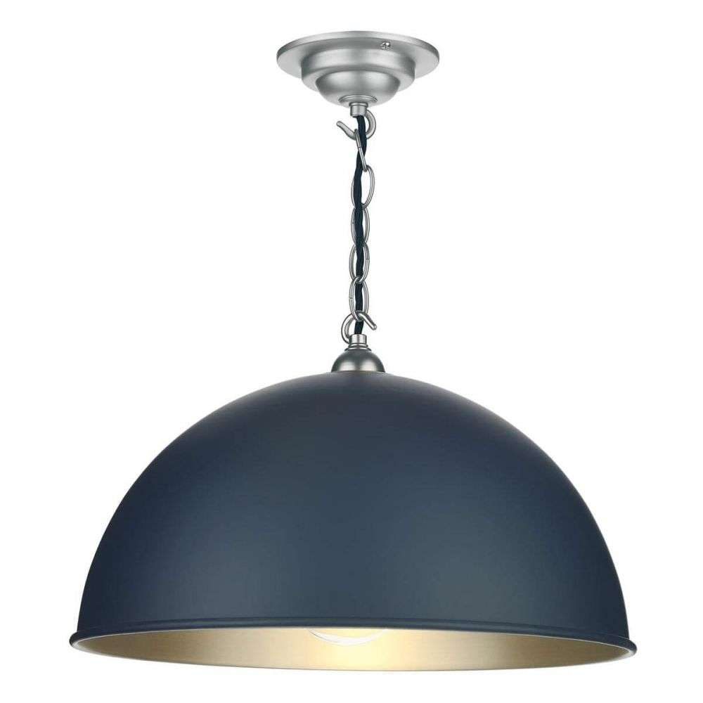 Ealing Small Pendant in Smoke Blue with Brushed Chrome Inner