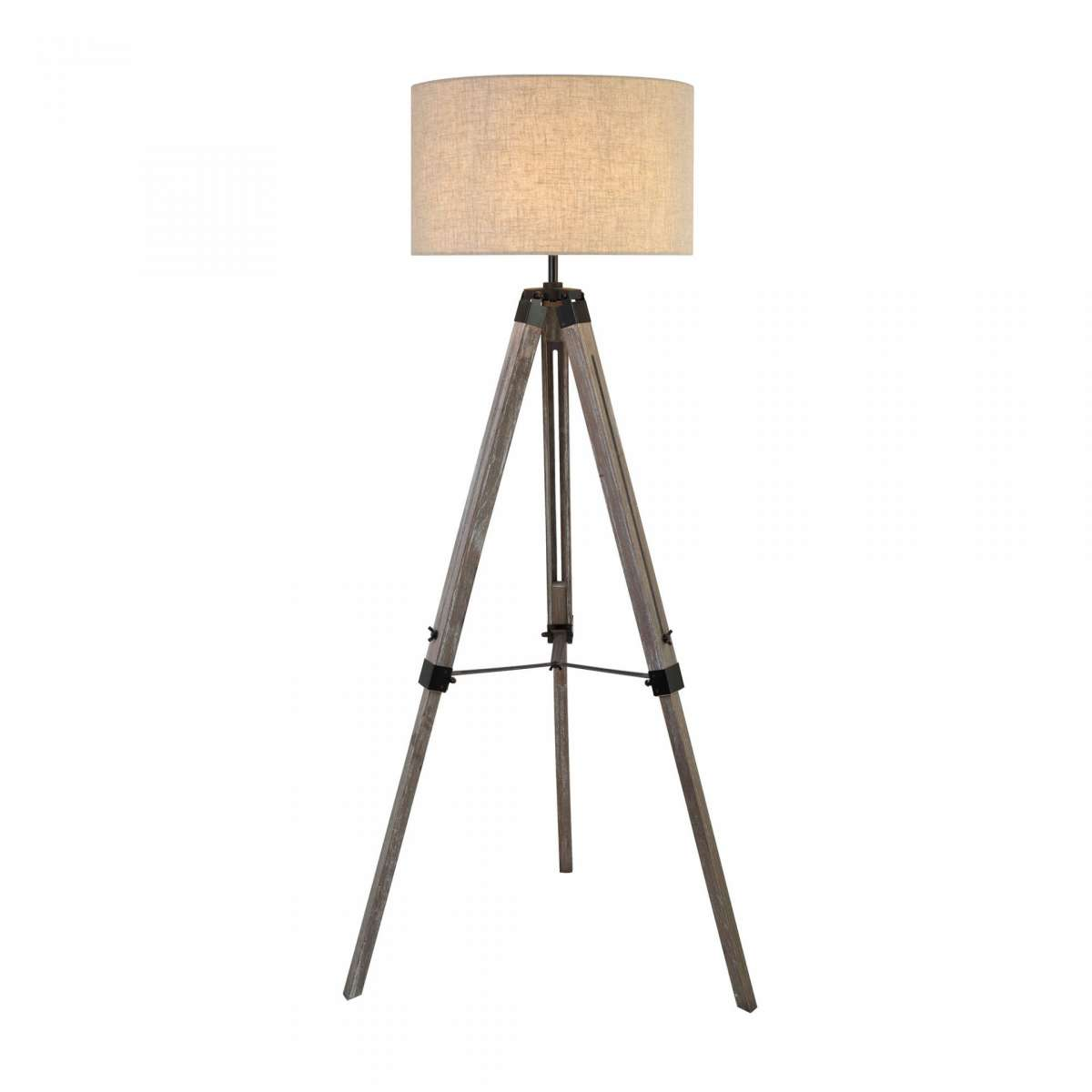 Easel Tripod Floor Lamp Washed Wood With Linen Drum Shade