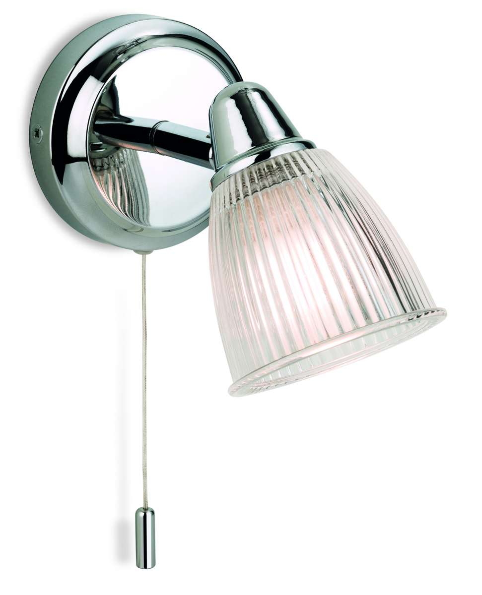 Echo Wall Light in Chrome with Clear Ribbed Glass IP44