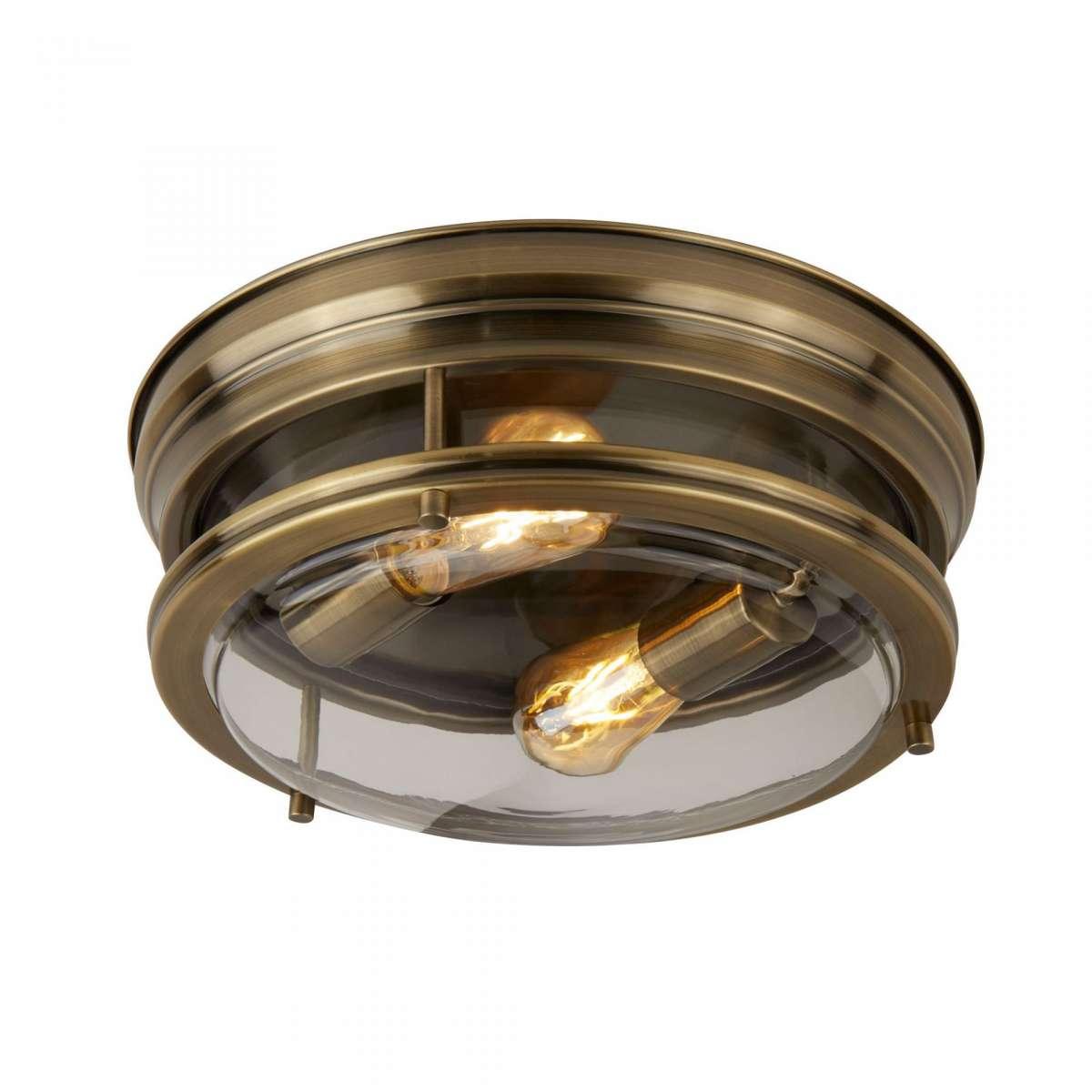 Edinburgh 2 Light Flush Antique Brass Clear Glass IP44
