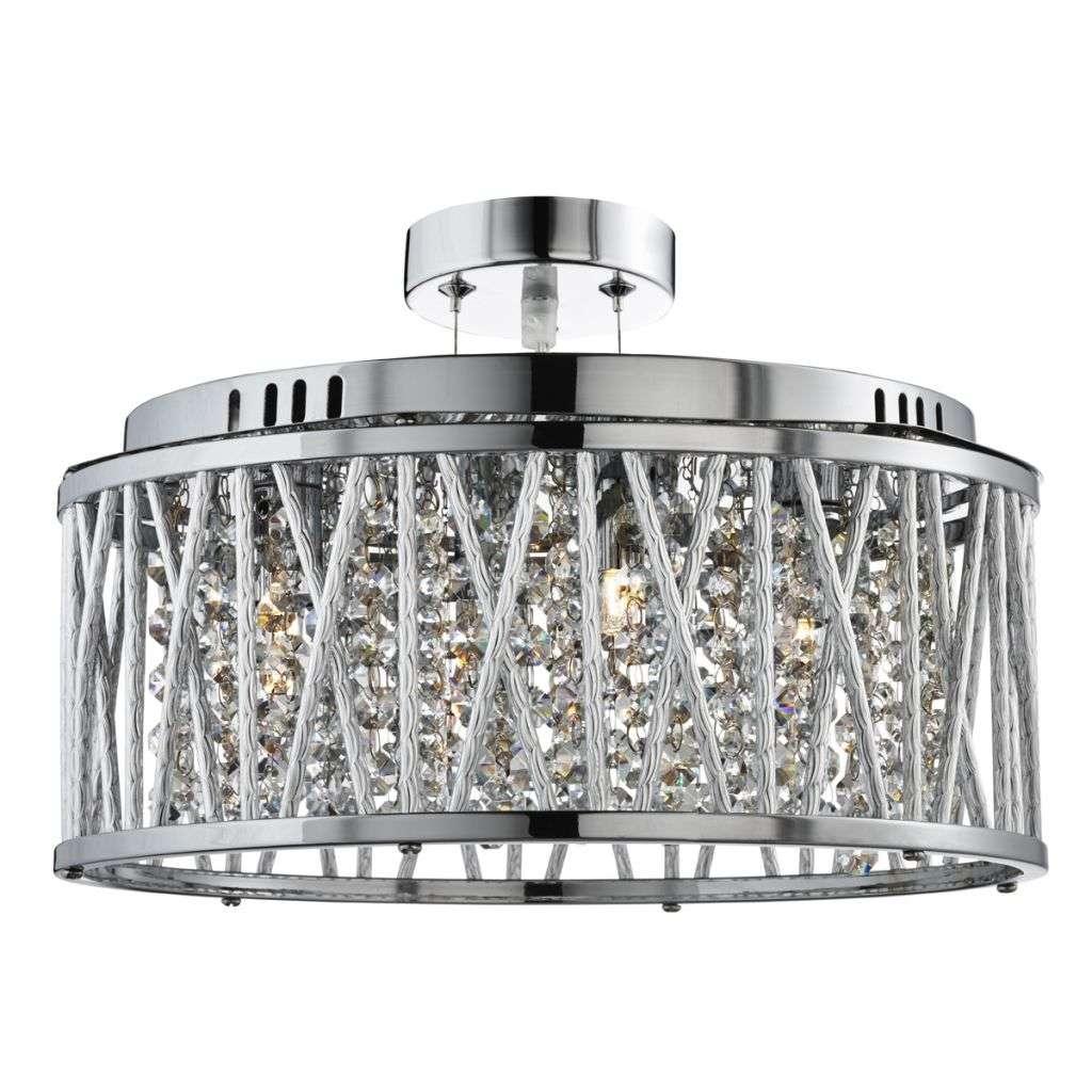 Elise 5  Light Ceiling Flush/Pendant Chrome, Clear Crystal Button Drops, Aluminimum Tubes Trim