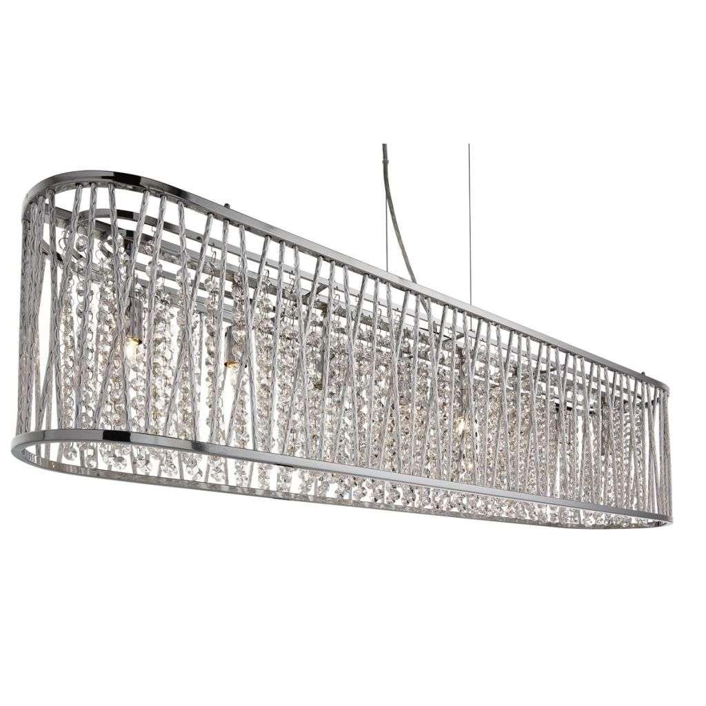 Elise 8  Light Oval Ceiling, Aluminimum Tubes Trim, Chrome, Clear Crystal Drops