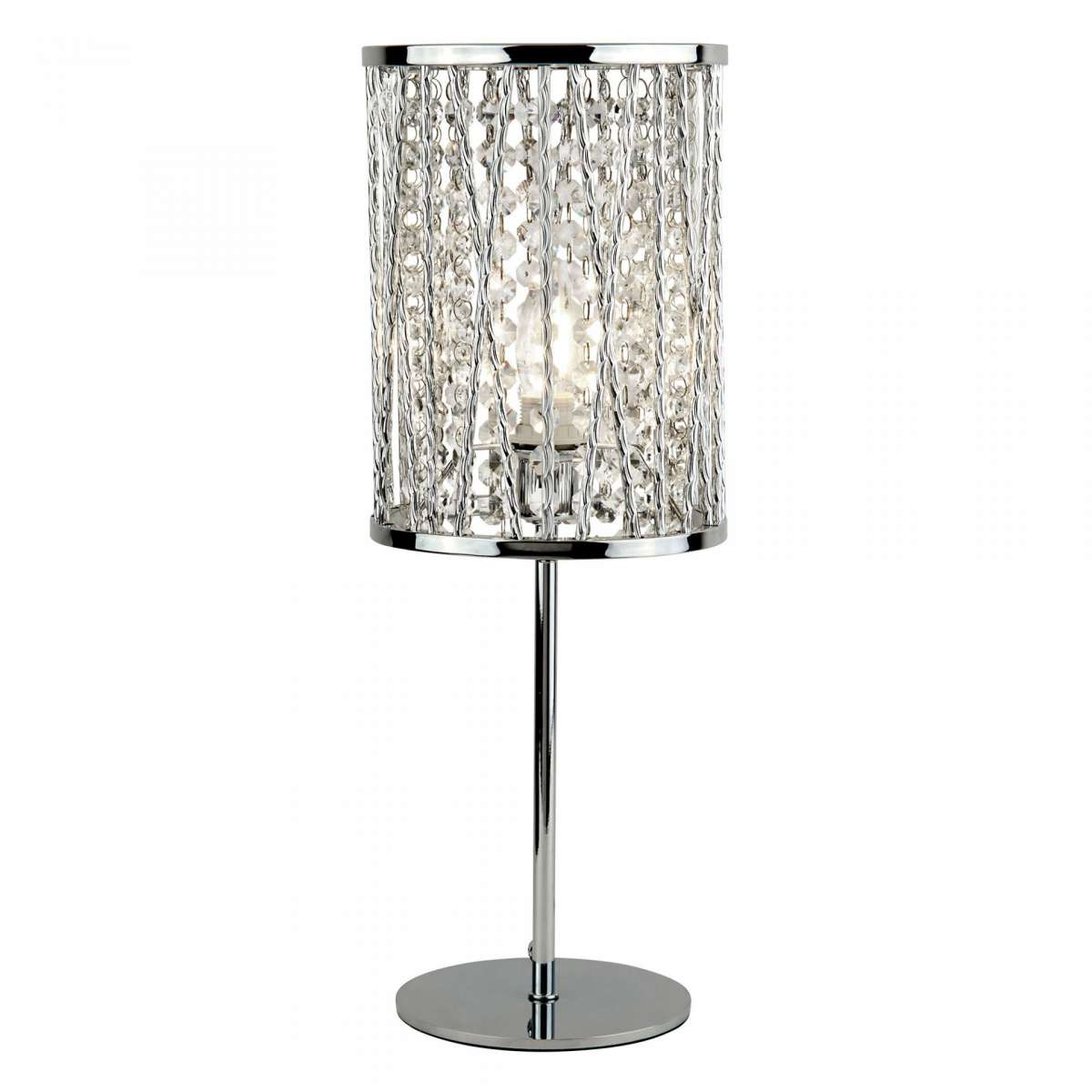 Elise 1 Light Table Lamp Chrome Crystal Drops