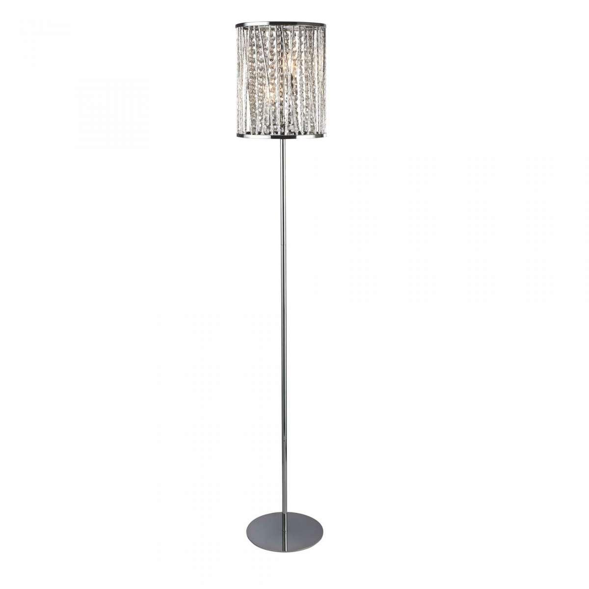 Elise 2 Light Floor Lamp Chrome Crystal Drops