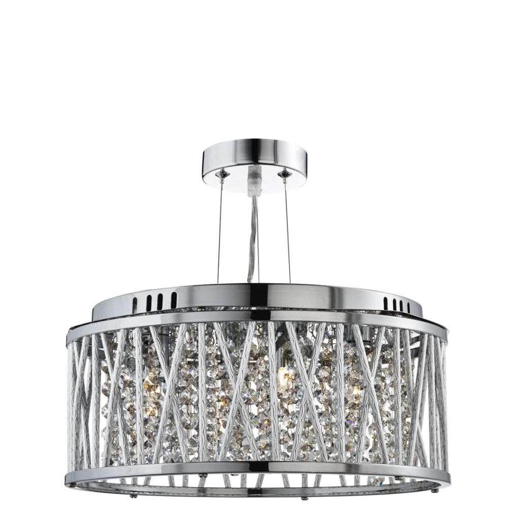 Elise 3 Light Ceiling Flush/Pendant Chrome, Clear Crystal Button Drops, Aluminimum Tubes Trim