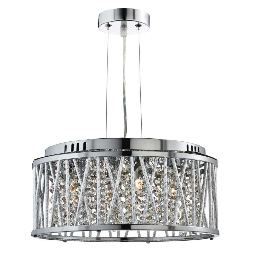 Elise Chrome 4 Light Fitting with Crystal Button Drops