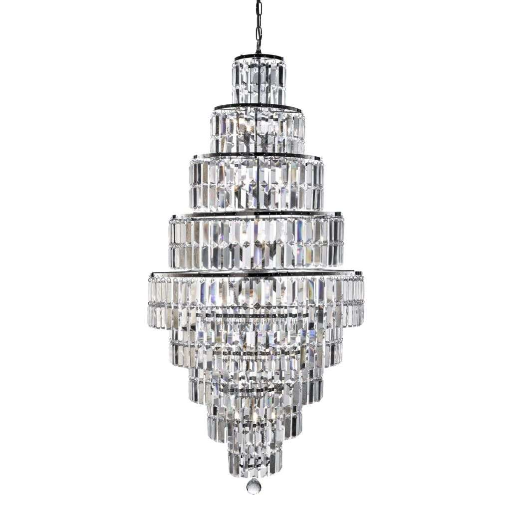 Empire - 13 Light Tiered Chandelier, Chrome With Clear Crystal Coffin Drops Bevelled Trim