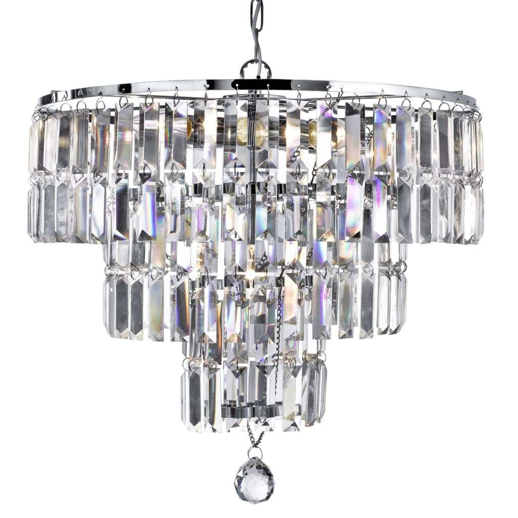 Empire Chrome 5 Light Chandelier With Bevelled Crystal Coffin Drops | Online Lighting Shop