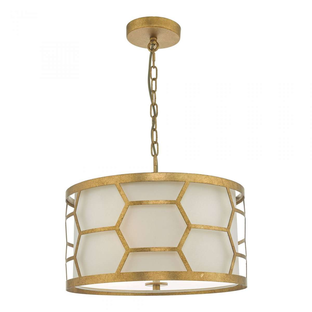 Epstein 3 light Pendant Gold with Ivory Shade