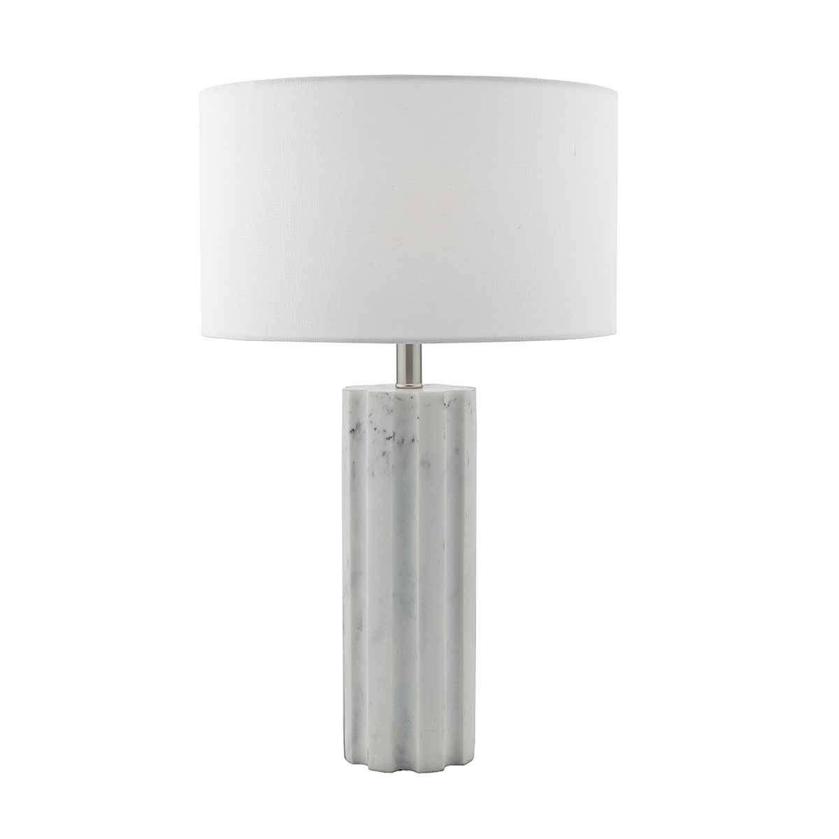 Erebus Table Lamp Stone c/w White Linen Shade