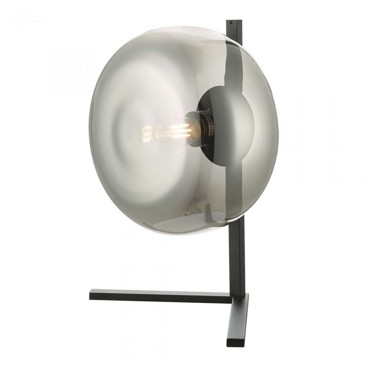 Erla Table Lamp Smoked Glass And Matt Black