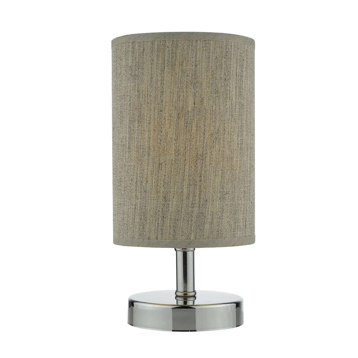 Eryn Touch Switch Table Lamp Polished Chrome c/w Taupe Linen Shade
