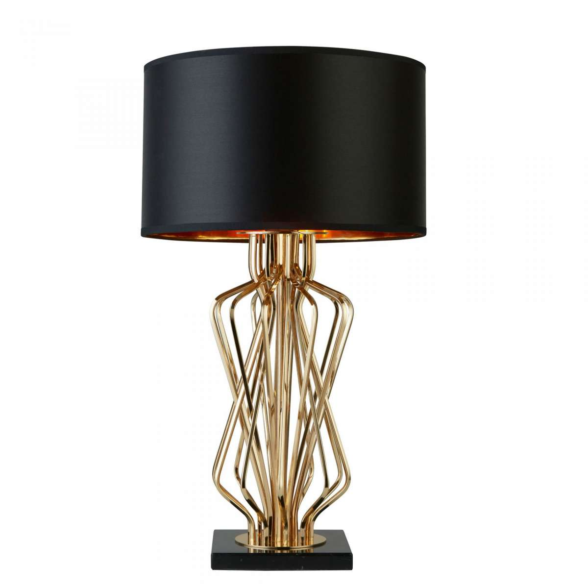Ethan Table Lamp With Marble Base Black Drum Shade Gold Interior