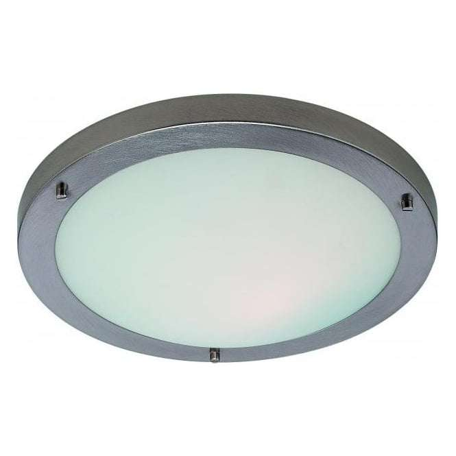 Firstlight Rondo Single Light in Brushed Steel Finish with Opal Glass