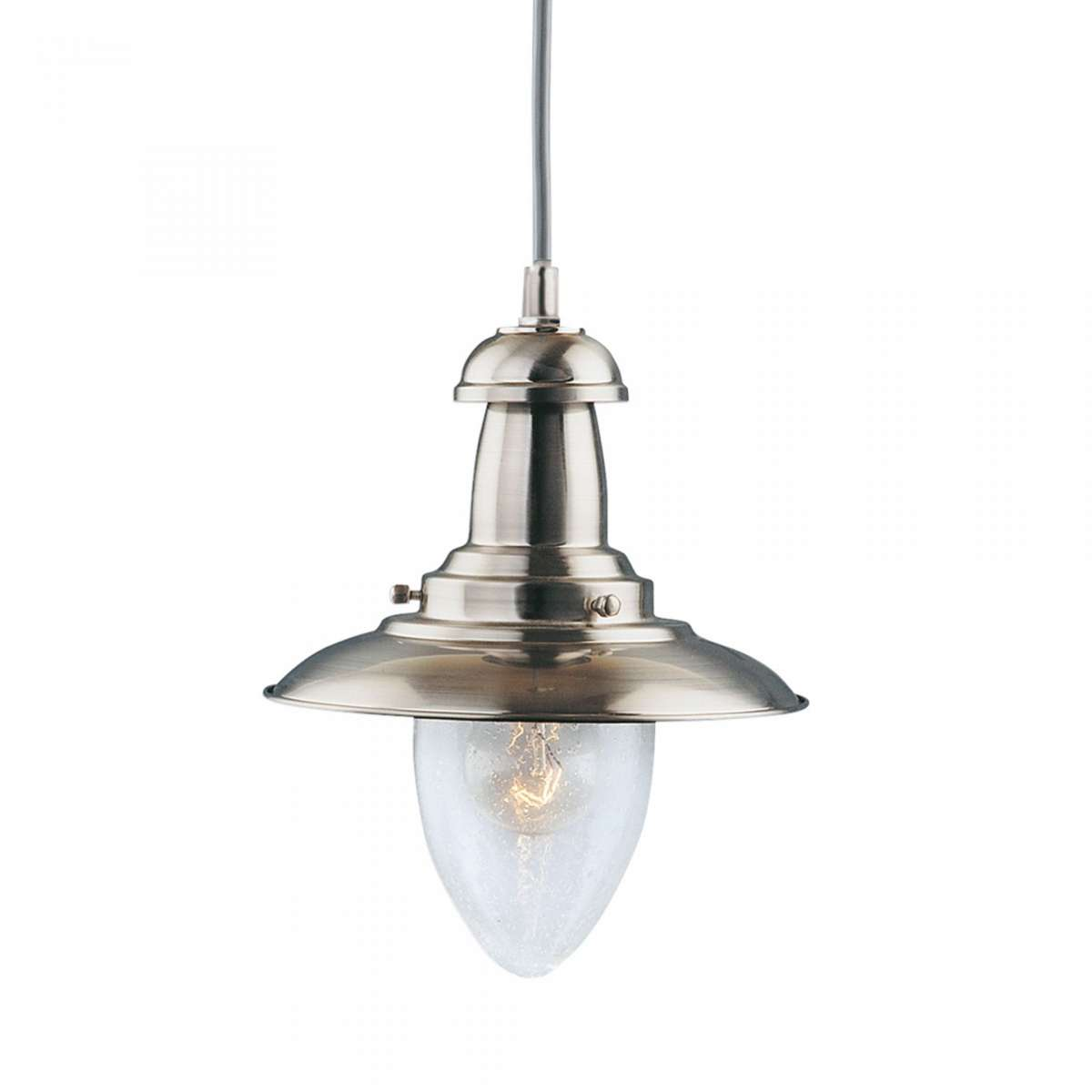 Fisherman Satin Silver Ceiling Light with Oval Seeded Glass Shade