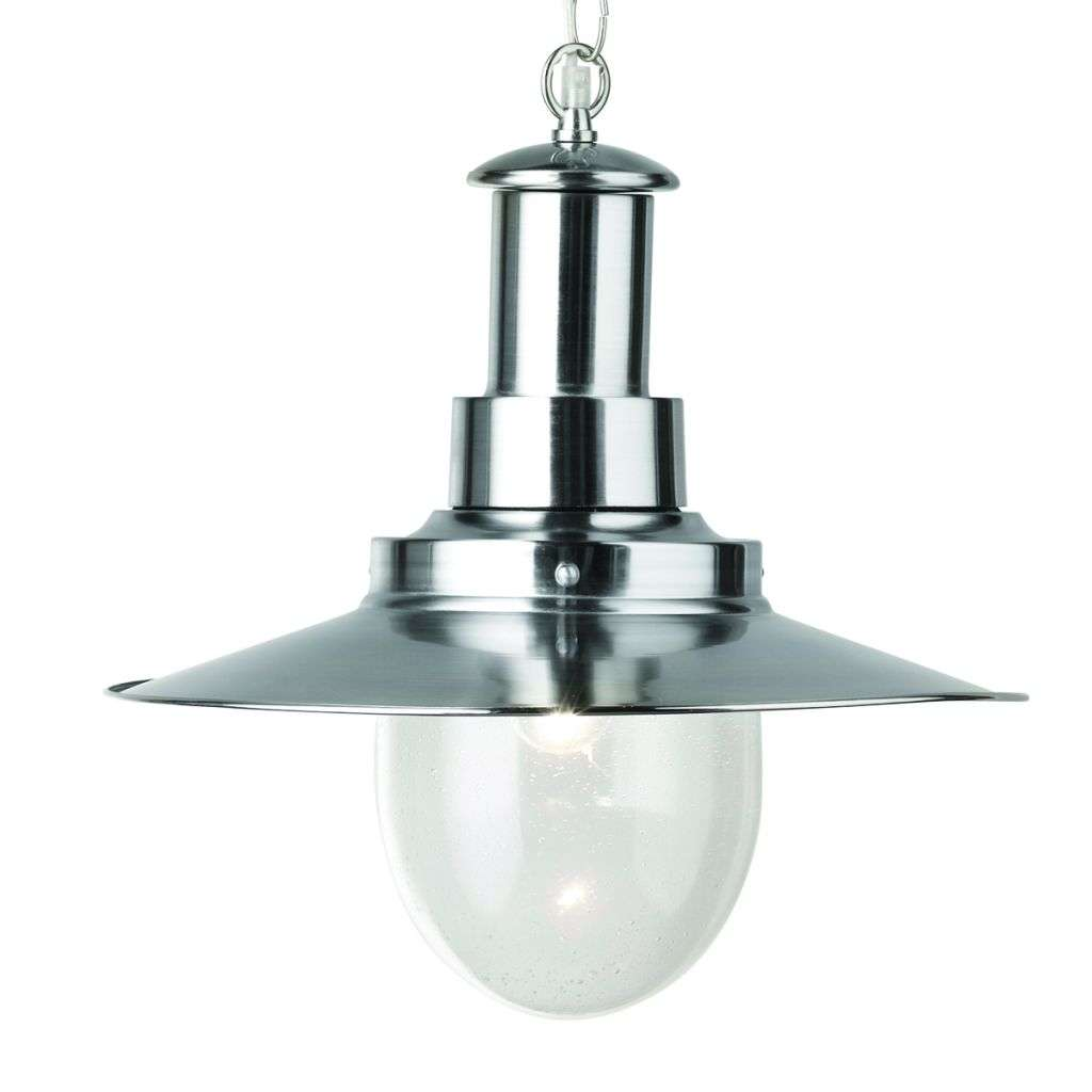 Fisherman Pendant 1 Light Large Pendant Satin Silver With Seeded Glass