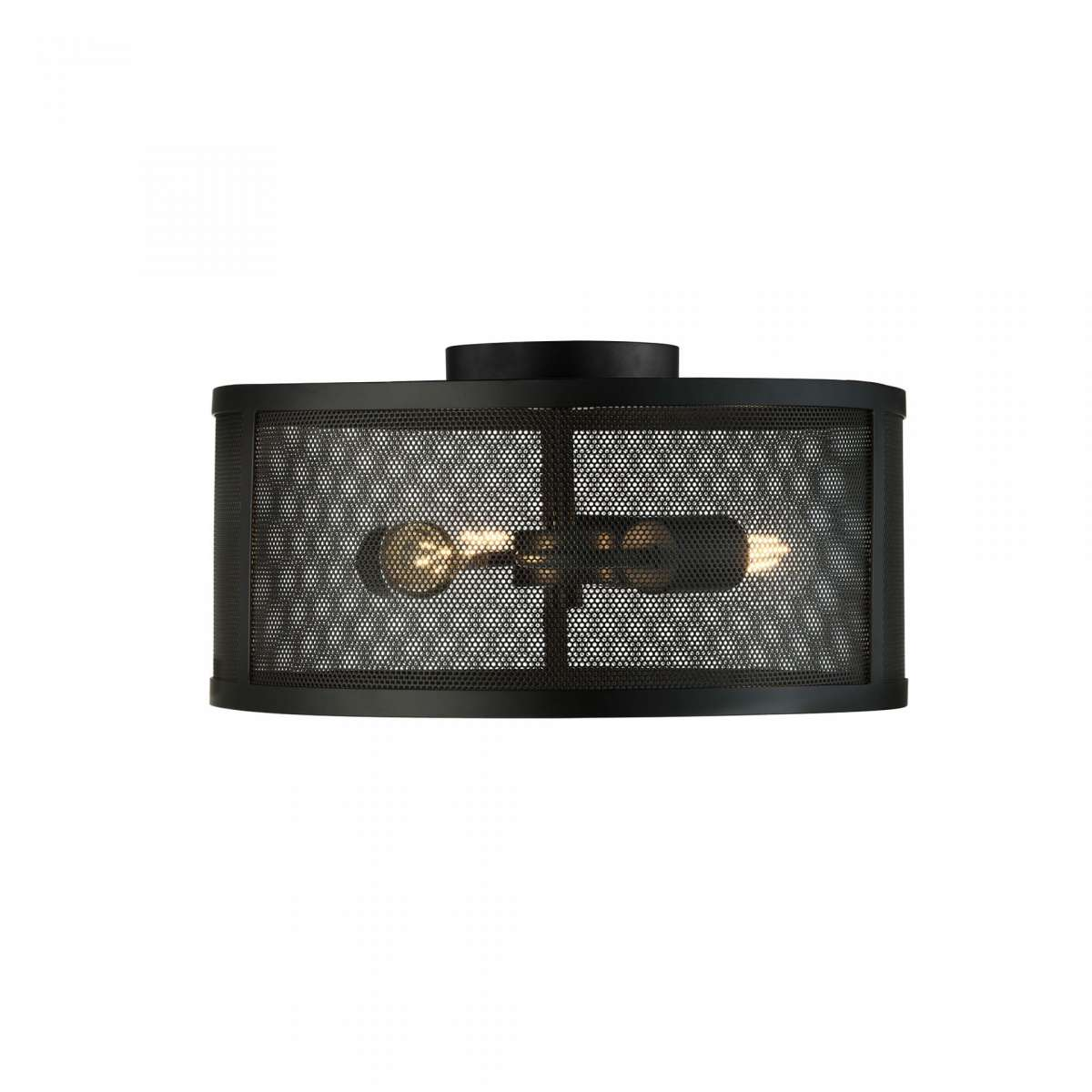 Fishnet 3 Light Drum Flush Matt Black