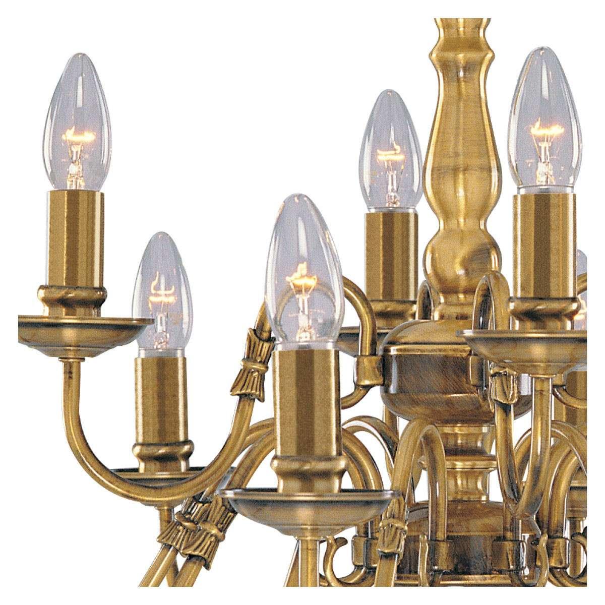 Flemish Solid Antique Brass 12 Light Chandelier