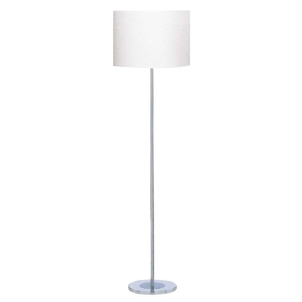 Floor Lamp - Chrome Round Base Ivory  Drum Shade
