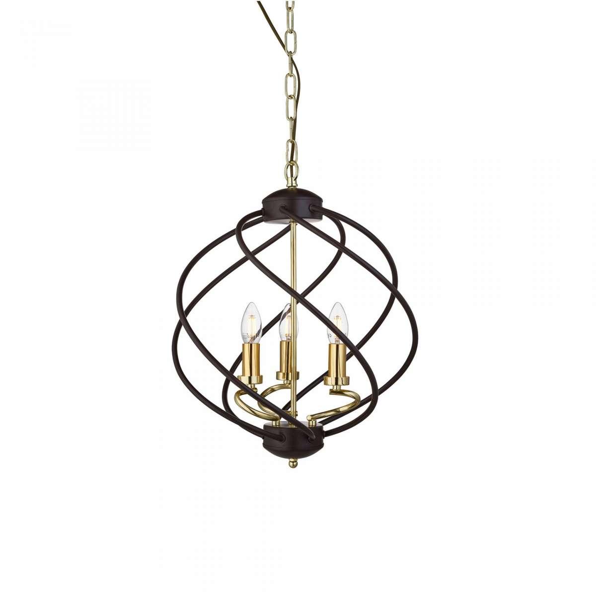Flow 3 Light Pendant Black / Gold