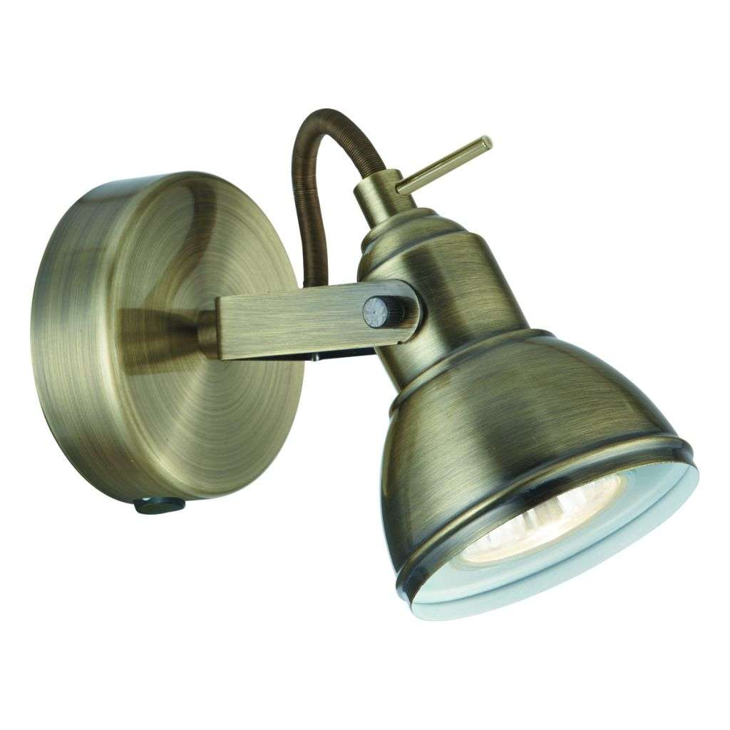 Focus 1 Light Antique Brass Industrial Spotlight