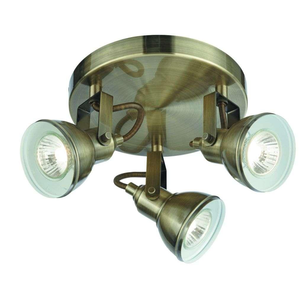 Focus 3 Light Antique Brass Industrial Spotlight Plate