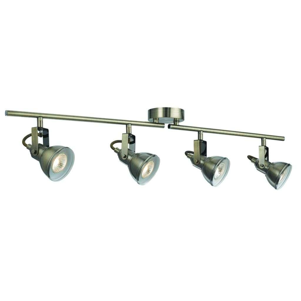 Focus 4 Light Antique Brass Industrial Split-Bar Spotlight