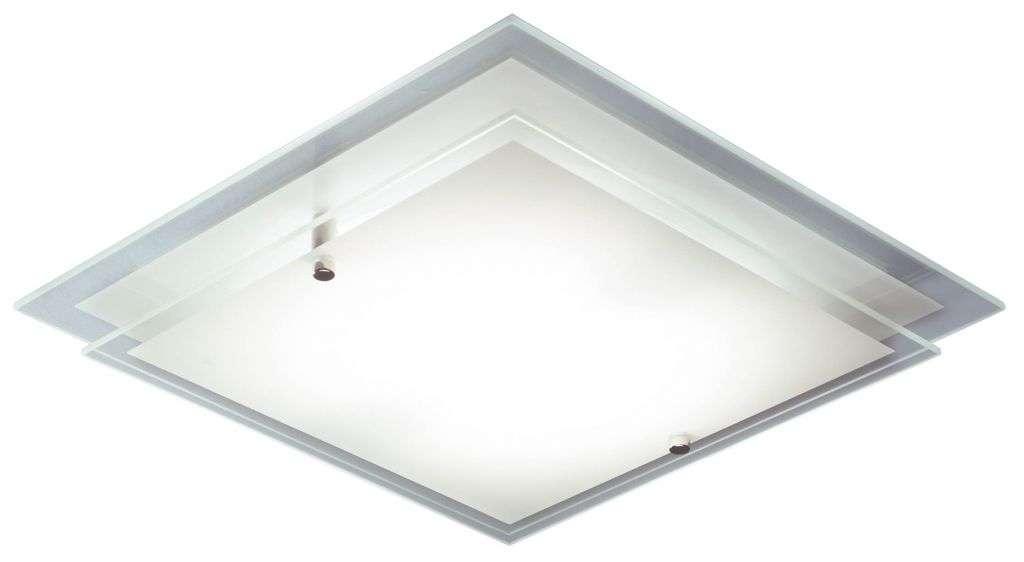 Frame 1-Light Satin Chrome And Glass Flush Fitting