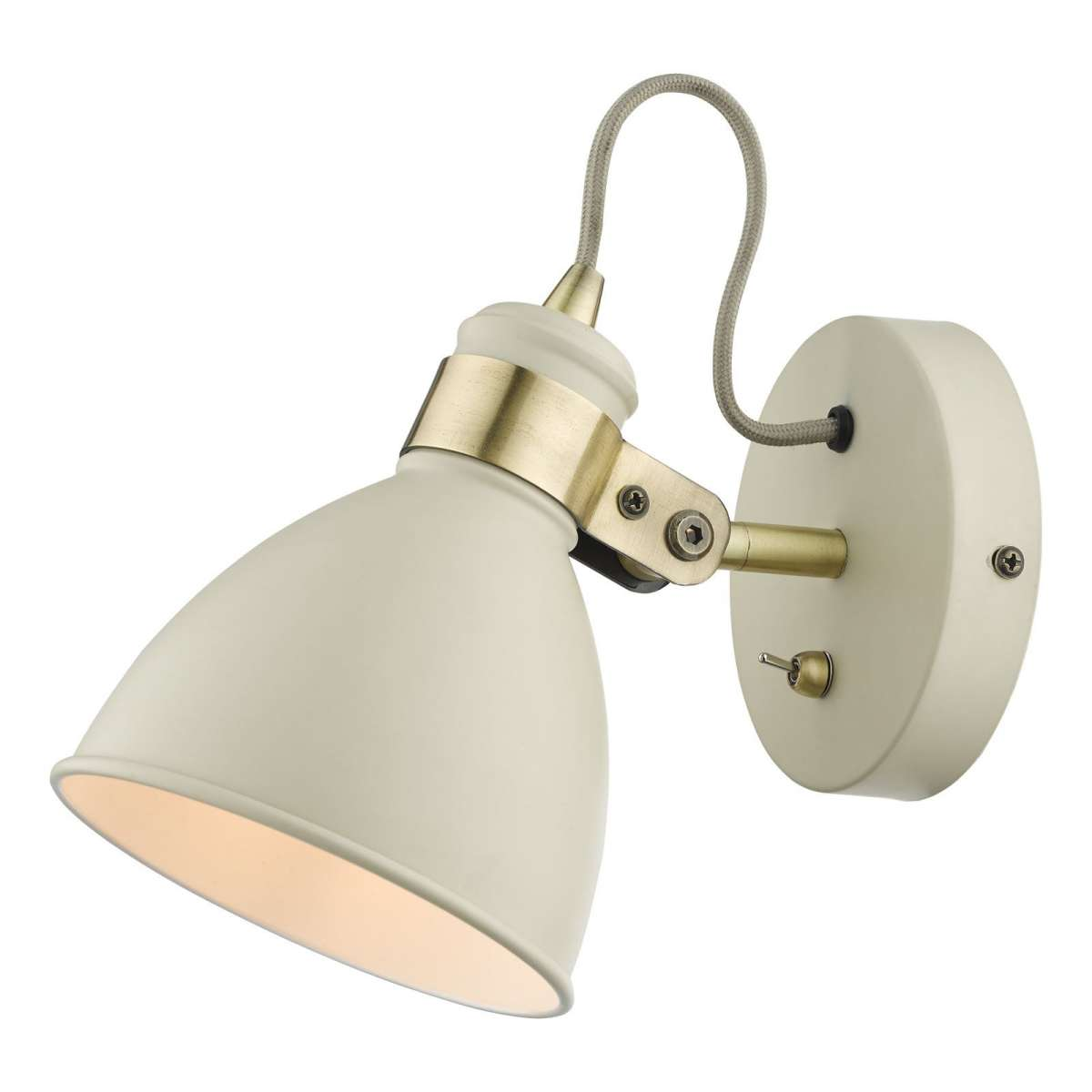 Frederick Gloss Cream Wall Light with Antique Brass Detail
