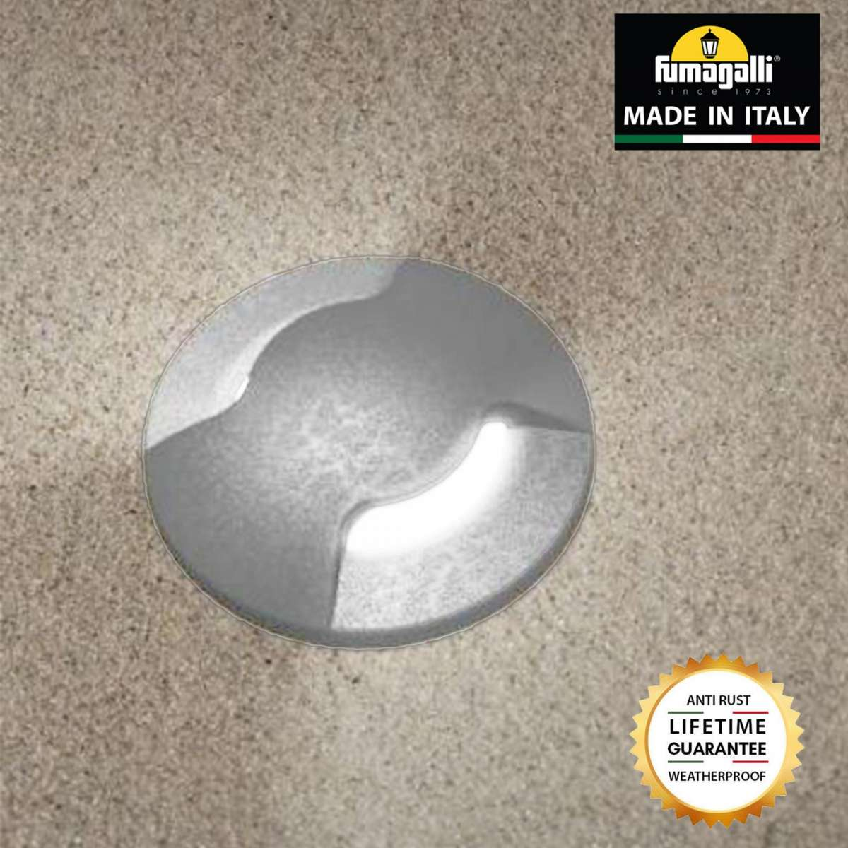 Fumagalli ALDO2LGY Aldo Round 2 Light Grey Walkover or Recessed Wall Light