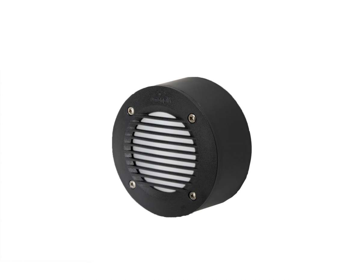 Fumagalli Extra Leti 100 Round 3W Black Grill Surface Mounted Wall Light