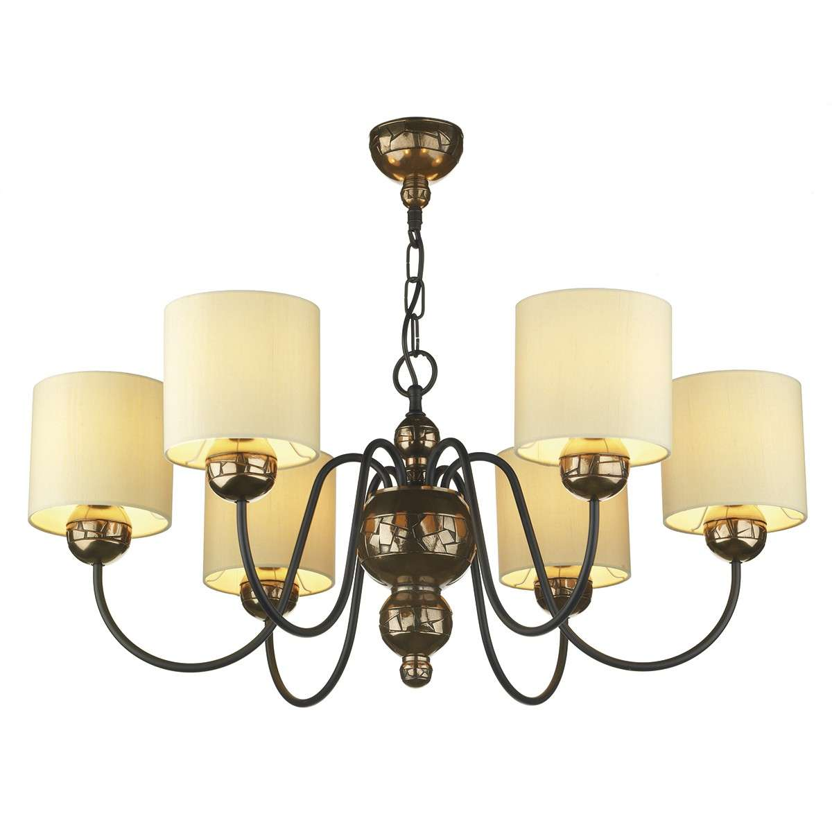 Garbo 6 Light Pendant Bronze complete with Cream Shades